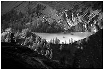 Glacial pond in Val Veni,  Mont-Blanc range, Alps, Italy. (black and white)