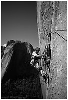 Valerio Folco getting ready to lead a pitch. El Capitan, Yosemite, California (black and white)