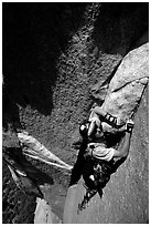 Valerio Folco leading the third pitch. El Capitan, Yosemite, California (black and white)