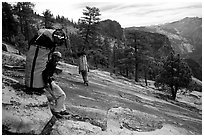 Taking a break while going down the east ledges. El Capitan, Yosemite, California (black and white)