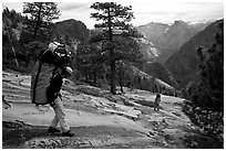 Going down the east ledges. El Capitan, Yosemite, California (black and white)