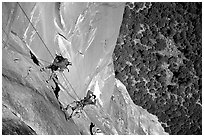 Climbing photographers at work. Yosemite, California (black and white)
