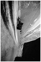 Portaledge bivy on the Dihedral wall. Yosemite, California (black and white)