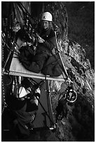 Crowded portaledge camp. El Capitan, Yosemite, California (black and white)