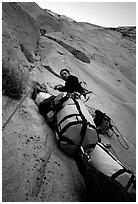 Valerio Folco belaying Tom McMillan. El Capitan, Yosemite, California (black and white)