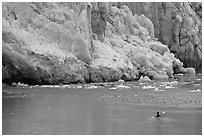 Kayaker at the base  of Lamplugh Glacier. Glacier Bay National Park, Alaska (black and white)