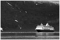 Cruise ship, East arm. Glacier Bay National Park, Alaska (black and white)
