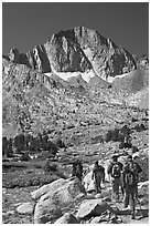 Hikers and Mt Giraud, Dusy Basin. Kings Canyon National Park, California (black and white)