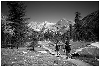 Backpackers on the John Muir Trail. Kings Canyon National Park, California (black and white)