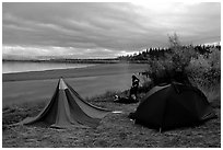 Camp on a bluff overlooking the Kobuk River. Kobuk Valley National Park, Alaska (black and white)