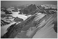 Summit ridge of Mt McKinley. Denali, Alaska (black and white)