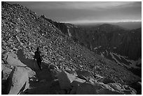 Hiking down Mt Whitney at sunset. Sequoia National Park, California (black and white)