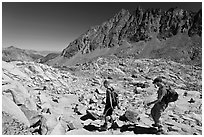 Hikers at Bishop Pass, John Muir Wilderness. Kings Canyon National Park, California (black and white)