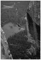 [photo by Bryce Nesbitt] Tyrolean traverse from Lost Arrow Spire. Yosemite National Park, California (black and white)