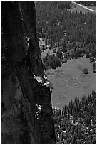 Climber of the Yosemite Falls wall. Yosemite National Park, California (black and white)