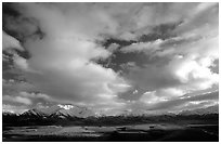 Alaska Range and sky, Polychrome Pass. Denali National Park, Alaska, USA. (black and white)