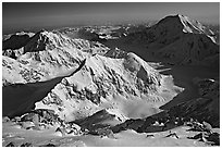 Kahilna peaks and Mt Foraker seen from 16000ft on Mt Mc Kinley. Denali National Park, Alaska, USA. (black and white)