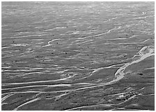 Braids of the McKinley River on sand bar near Eielson. Denali National Park, Alaska, USA. (black and white)