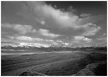 Wide braided rivers, Alaska Range, and clouds, late afternoon. Denali National Park, Alaska, USA. (black and white)