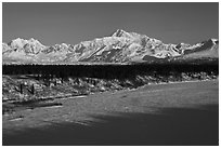 Alaska range in winter, early morning. Denali National Park, Alaska, USA. (black and white)