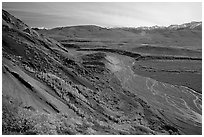 Braided river from Polychrome Pass, morning. Denali National Park, Alaska, USA. (black and white)
