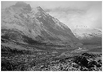 Fresh snow near Arrigetch Peaks. Gates of the Arctic National Park, Alaska, USA. (black and white)