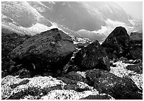 Boulders at the base of Arrigetch Peaks. Gates of the Arctic National Park, Alaska, USA. (black and white)