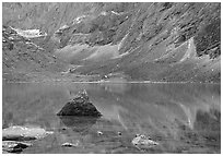 Lake II in Aquarius Valley near Arrigetch Peaks. Gates of the Arctic National Park, Alaska, USA. (black and white)