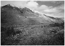 Tundra, valley, and mountains with fresh snow. Gates of the Arctic National Park, Alaska, USA. (black and white)