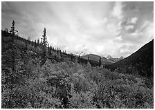 Arrigetch valley and clouds. Gates of the Arctic National Park, Alaska, USA. (black and white)
