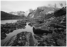 Arrigetch peaks above pond in Aquarius Valley. Gates of the Arctic National Park, Alaska, USA. (black and white)