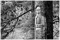 Tree carved by native Tlingit indians, Bartlett Cove. Glacier Bay National Park, Alaska, USA. (black and white)