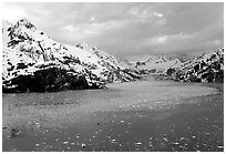 John Hopkins inlet with floating ice in late May. Glacier Bay National Park, Alaska, USA. (black and white)