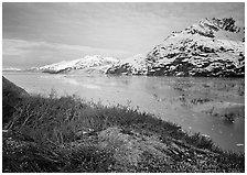 Snowy mountains and icy fjord seen from high point, West Arm. Glacier Bay National Park, Alaska, USA. (black and white)