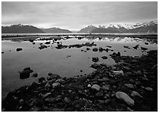 Accross the West arm from near Scidmore bay. Glacier Bay National Park, Alaska, USA. (black and white)