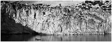 Ice wall. Glacier Bay National Park (Panoramic black and white)