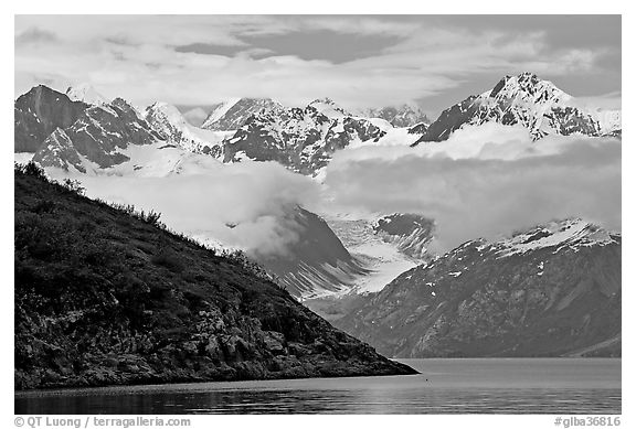 Peaks of Fairweather range with clearing clouds. Glacier Bay National Park (black and white)