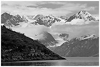 Peaks of Fairweather range with clearing clouds. Glacier Bay National Park, Alaska, USA. (black and white)