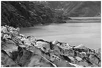 Lamplugh glacier and turquoise bay waters. Glacier Bay National Park, Alaska, USA. (black and white)