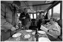 Appetizer served in the main cabin of the Kahsteen. Glacier Bay National Park ( black and white)