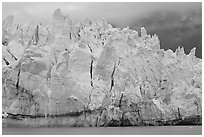 Blue ice on the tidewater terminus of Margerie Glacier. Glacier Bay National Park, Alaska, USA. (black and white)