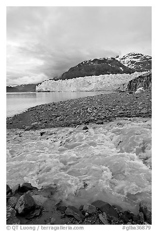 Stream flowing into Tarr Inlet, with Margerie Glacier in background. Glacier Bay National Park (black and white)