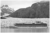 Cruise ship stopping next to Margerie Glacier. Glacier Bay National Park, Alaska, USA. (black and white)