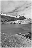 Reid Inlet and Reid Glacier terminus. Glacier Bay National Park, Alaska, USA. (black and white)