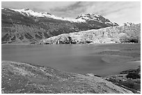 Reid Inlet and Reid Glacier. Glacier Bay National Park, Alaska, USA. (black and white)
