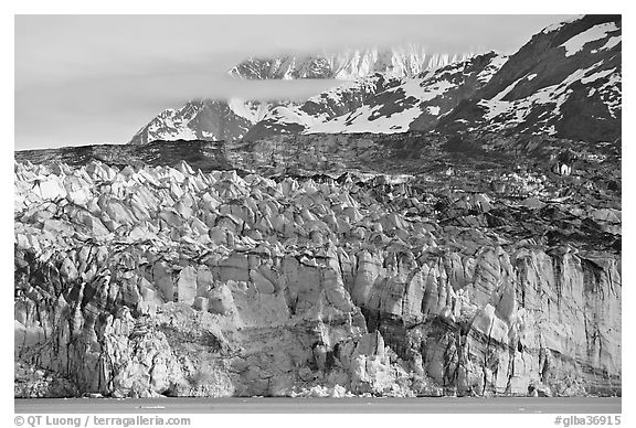 Ice face of Lamplugh glacier. Glacier Bay National Park (black and white)