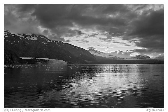 Mount Forde, Margerie Glacier, Mount Eliza, Grand Pacific Glacier, at sunset. Glacier Bay National Park (black and white)