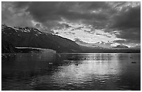 Mount Forde, Margerie Glacier, Mount Eliza, Grand Pacific Glacier, at sunset. Glacier Bay National Park, Alaska, USA. (black and white)