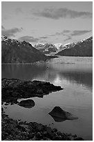 Mount Fairweather and Margerie Glacier seen across the Tarr Inlet. Glacier Bay National Park, Alaska, USA. (black and white)