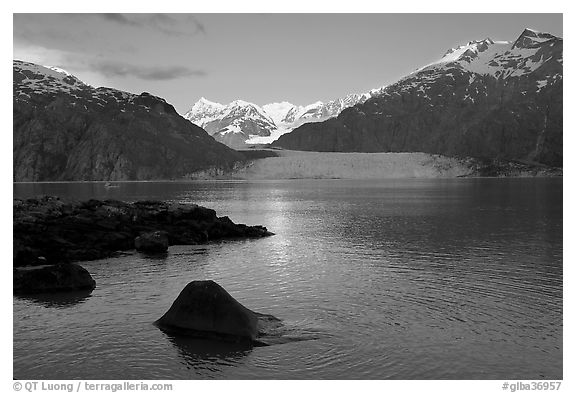 Mount Fairweather, Margerie Glacier, Mount Forde, and Tarr Inlet, early morning. Glacier Bay National Park (black and white)